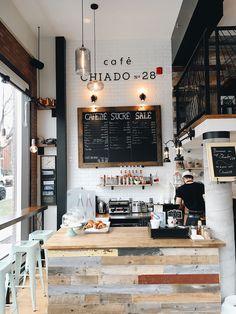 chiado-cafe-montreal © Will Travel for Food Cafe Restaurant, Restaurant Design, Café Design, Cafe Concept, Cafe Interior Design, Coffee Shop Design, Cafe Shop, Coffee Cafe, Coffee Store