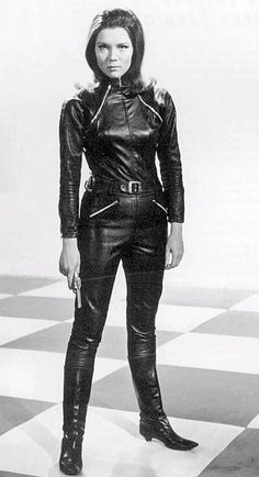 Diana Rigg, 1960's TV Series:  The Avengers.  British agent Emma Peel most remembered in her leather catsuit and boots from her first season.