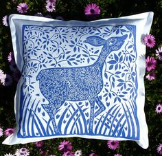 cushion pillow blockprint Birds in the Forest by cushioncushion