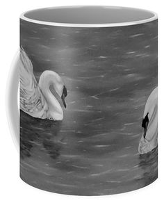 Swans Coffee Mug featuring the drawing Swan Couple by Faye Anastasopoulou Couples Coffee Mugs, Fusion Art, Ocean Scenes, Mugs For Sale, My Themes, Swans, Basic Colors, Artist At Work, Color Show