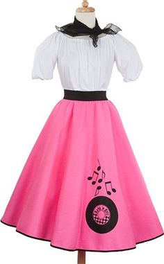 Hey Viv 50s Style Felt Rock and Roll Record Circle Skirt