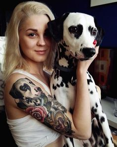 girl with dog tattoo