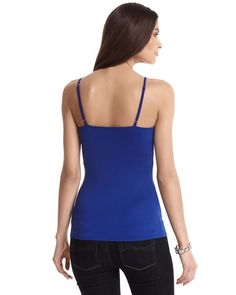"""SAPPHIRE SCOOP NECK CAMI  STYLE: 570066283  Overall Rating  5 / 5  read all 6 reviews  write a review  Layer this soft, sleek cami under jackets, lace tops and openweave sweaters. 92% Nylon, 8% Spandex. Machine wash. Imported.  Close stretch fit tailored with hourglass side seams.  Adjustable straps.  Shelf bra.  Hits at mid-hip (25"""" from shoulder)."""