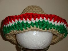 This is a brand new hand crocheted Mexican Sombrero hat. This cute hat would be great for your babys first photo shoot taking a little