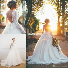 Backless Wedding Dresses 2015 White Ball Gown Plus Size Vintage Long Sleeve Sheer Neck Bateau Bow Beaded Princess Lace Bridal Wedding Gowns Online with $131.04/Piece on Sweet-life's Store | DHgate.com