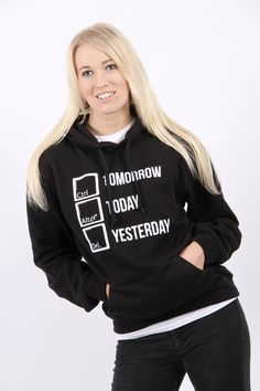 Control tomorrow, alter today, delete yesterday! It is never too late to be your best self, whatever you want to achieve, you can! Decide on your goal, set it in our goal setting network and visualise that you have already made it in our Time Machine feature so that you can start to take charge of your new tomorrow! Hoodies Our hoodies have a double fabric hood with draw cords and a front pouch pocket. £20.49