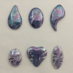 Hand painted porcelain cabochons marbled by IndigoTurtleArt Painted Porcelain, Hand Painted, Turquoise Accents, Shades Of Purple, Bead Weaving, Wearable Art, Wire Wrapping, Metal Working, Indigo