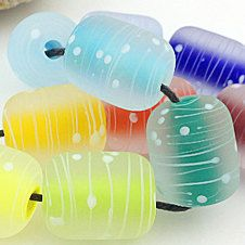 Pikalda :Handmade lampwork glass 10 beads colorful 'Colorful Tube 2' SRA make to order on Etsy, $50.00
