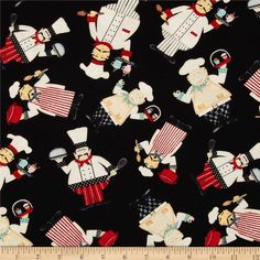 In The Kitchen Tossed Chefs Black from @fabricdotcom  Designed by Jennifer Pugh for Wilmington Prints, this cotton print is perfect for quilting, apparel and home decor accents.  Colors include red, blue, cream, red and black.