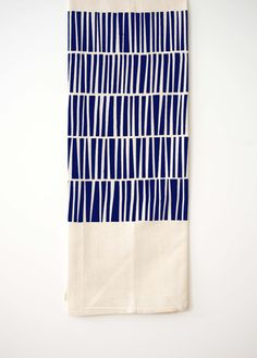 Triangles   Tea Towel   Cobalt Blue   Organic Cotton U0026 Hemp   Screen Printed