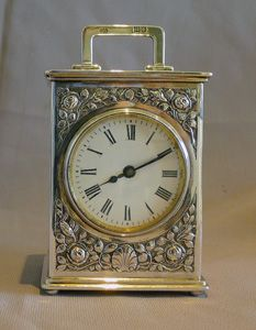 Antique English, Solid Silver Edwardian Carriage Clock.