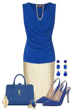 """Gold and Blue"" by alina-n ❤ liked on Polyvore featuring Giambattista Valli, Phase Eight, Jane Norman, Yves Saint Laurent, Kimberly McDonald, Kate Spade, Stephanie Kantis, Movado, chic and Elegant"