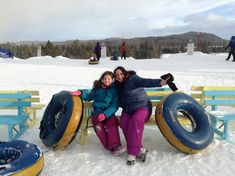 Mother and daughter tubing at Valcartier Quebec