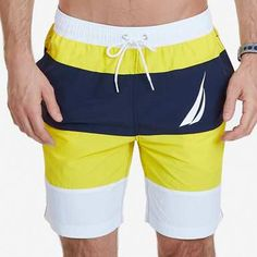 Lil Yachty's Nautica Heritage Favorites featuring The Quick Dry Color Block J Class Swim Trunk in Vibrant Yellow Mens Fashion Summer Outfits, Best Mens Fashion, Basic Outfits, Short Outfits, Mens Swim Shorts, Gym Shorts Womens, Mens Casual Suits, Track Pants Mens, Men's Swimsuits