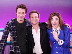 Barrett Wilbert-Weed and Ryan McCartan with Christian Slater