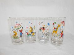 Circus / Carnival Glasses by WeBGlass on Etsy