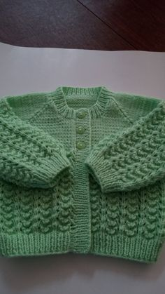 Baby Girl Sweater Hand knitted Bright LIME  fancy by HRStuff