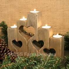 Rustic Heart Linked Family Candle Holders, Wedding Gift, Anniversary, Housewarming, Home Decor by Michael Bolton