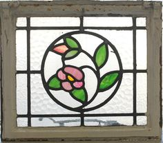 Antique Stained Glass Window Four Color Ivy Bloom  