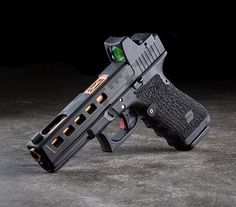 Glock from Salient Arms with cut slide and RMR Glock 9mm, Weapons Guns, Guns And Ammo, Rifles, Custom Guns, Glock 17 Custom, Survival, Fire Powers, Home Defense
