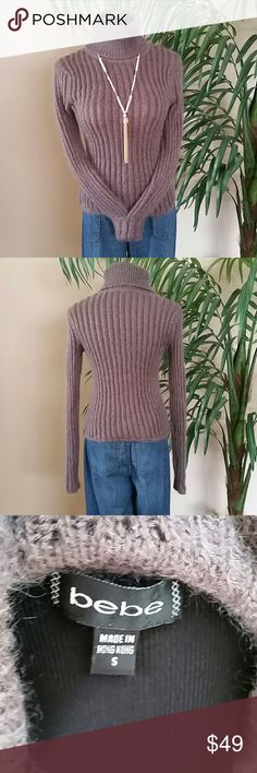 BEBE Mauve Chunky Rib Knit Wool Turtleneck! BEBE Mauve Chunky Rib Knit Wool Turtleneck!  🚫No Trades 🙄😘  🔘Use OFFER button to negotiate👍🤑 🔘Please Ask ❓'s BEFORE you Buy🤔😃 💕Thank you for stopping by! Happy Poshing!💕 bebe Sweaters Cowl & Turtlenecks