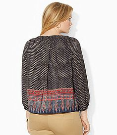 Lauren Ralph Lauren Woman Geometric Peasant Top #Dillards  Very timeless and always classy Lauren