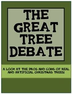 A FREE short argument piece on real vs. artificial Christmas trees for students to use to identify the central question, claim, counterclaim, and transition words. Designed for middle school.
