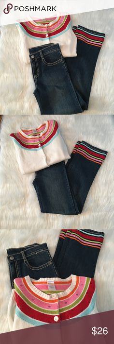 Gymboree outfit Love this outfit! Jeans and sweater match perfect no flaws ! Sweater is size L 10/12 and jeans are 12 Gymboree Other