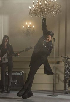 "*no link*  Adam Lambert as ""Starchild"" on Glee.  I'm in love with him and the shoes!"