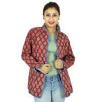 Handmade Reversible Floral Cotton Quilted Women Jacket Winter Coat Warm Blazer