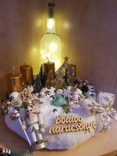 Arany/zöld adventi asztaldísz (ranyomlak) - Meska.hu Advent, Decoupage, Table Decorations, Diy, Home Decor, Decoration Home, Bricolage, Room Decor, Diys