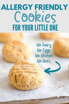 Ultimate allergy-friendly cookies, dairy free, egg free, gluten free, nut free and refined sugar free. Great allergy-friendly baking for kids Dairy Free Cookies, Dairy Free Eggs, Easy Sugar Cookies, Egg Free, Healthy Cake Recipes, Gf Recipes, Baby Food Recipes, Dessert Recipes, Gluten Free Recipes For Kids