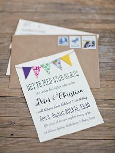 Wedding invitation, bunting wedding invitation, cute invitations Beautiful DIY Wedding - Gent & Beauty Photography: Think Photography
