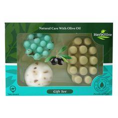 GIFTSET SET Nr7 (2 SOAPS 55gr & 1 SOAP GREEN MASSAGE)   (Herbolive) Olives, Cacao, Olive Oil, Massage, Soaps, Green, Gifts, Olive Oil Extra Virgin, Balsamic Vinegar
