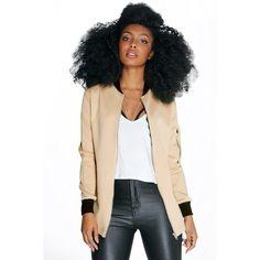 Boohoo Petite Petite Layla Longline Scuba Bomber Jacket ($18) ❤ liked on Polyvore featuring outerwear, jackets, stone, puffy jacket, puffa jackets, flight jacket, longline jacket and bomber jacket