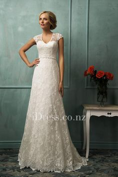 illusion cap sleeves with sweetheart bodice all over lace slim a-line wedding dress with chapel train