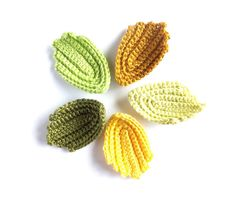 Crocheted leaves autumn decorations woodland applique by eljuks, $6.00