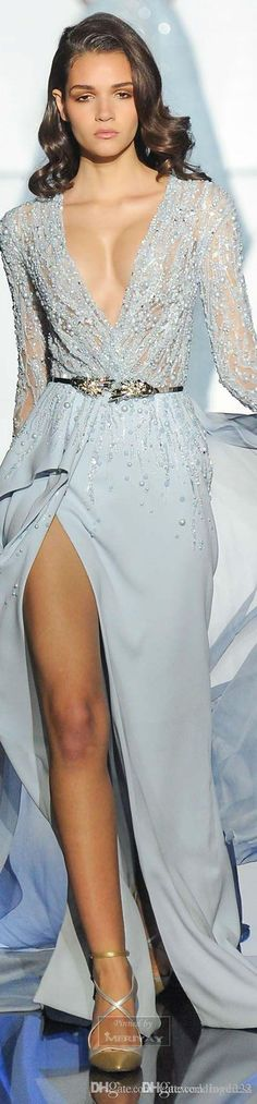 2015 Prom Dresses Sexy Plunging Long Sleeve Belt Front Split Sheer Pearl Beading Celebrity Dress Custom Made Appliques