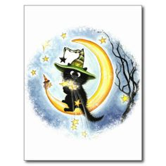 Whimsical and cute, black cat and moon Make a Wish By AmyLyn Bihrle Post Card
