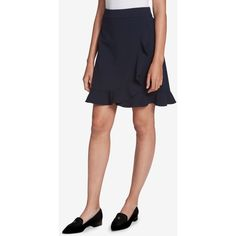 Tommy Hilfiger Flared Ruffle-Trim Skirt, Created for Macy's ($67) ❤ liked on Polyvore featuring skirts, sky captain, flare skirts, frilled skirt, faux wrap skirt, flared hem skirt and flared skirts