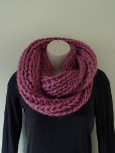 Chunky hand knitted infinity scarf - ducky pink - £14