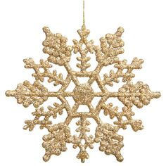 "Club Pack Of 24 3.75"" Shimmering Gold Glitter Snowflake Ornaments (€28) ❤ liked on Polyvore featuring home, home decor, holiday decorations, snow flake ornaments and snowflake ornaments"