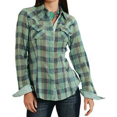 Roper Five Star Plaid Shirt - Snap Front, Long Sleeve (For Women) in Green