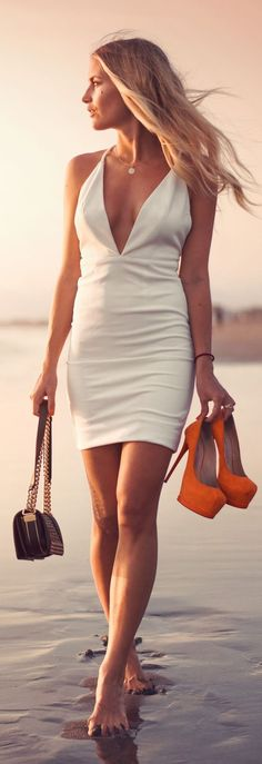 Women's fashion | White summer dress, orange heels, handbag