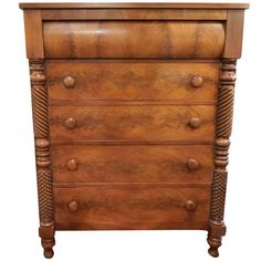 Late 19th Century Five Drawer Federal Chest on Turned Feet | From a unique collection of antique and modern commodes and chests of drawers at http://www.1stdibs.com/furniture/storage-case-pieces/commodes-chests-of-drawers/