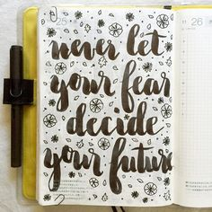 """""""Never let your fear decide your future  #journal #artjournal #hobonichi #planner #diary #notebook #filofax #mtn #midori #travelersnotebook…"""""""