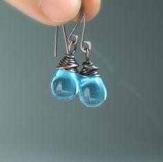 Blue copper earrings - drop glass rustic earrings, handmade rustic jewelry by VeraNasfaJewelry on Etsy