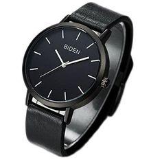 Analog Watch Men's Chronograph Quartz Wrist Wast Black Leather Band Waterproof #ALPSMenWatch
