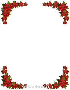 Printable poinsettia border. Free GIF, JPG, PDF, and PNG downloads at http://pageborders.org/download/poinsettia-border/