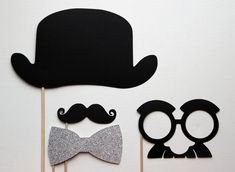 Derby Bowler Hat , Glittered Bow Tie, Mustache and Groucho on a Stick